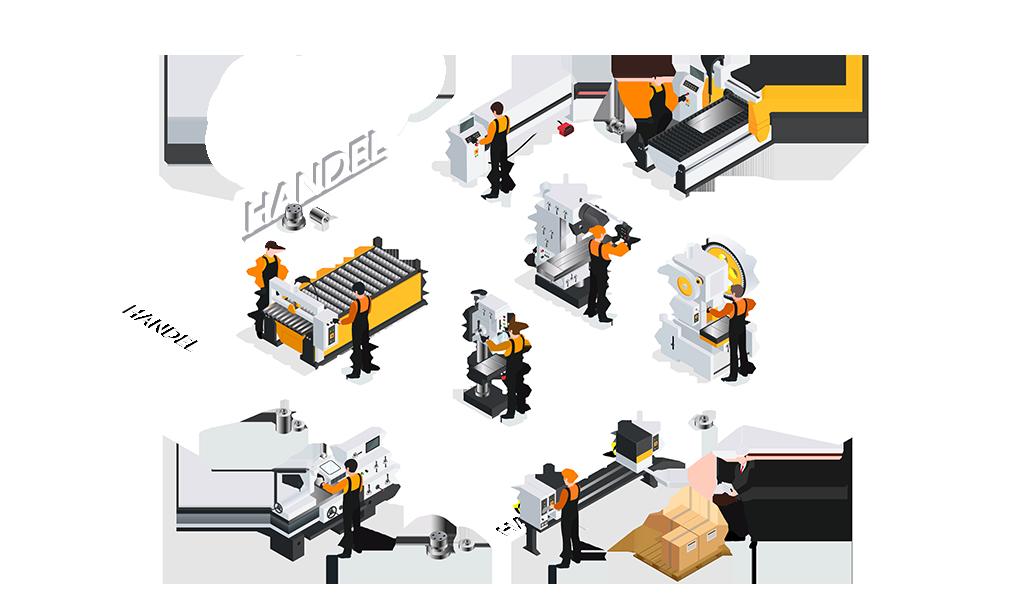 CNC metaalbewerking Handel